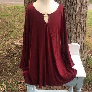 NWT Women's plus burgundy blouse sz2X